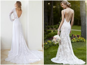 Lace wedding dresses with open back