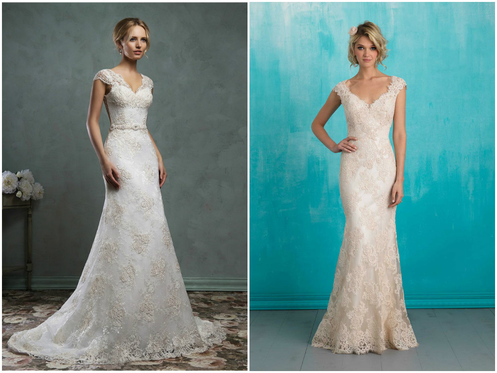 Lace cap sleeve wedding dress | Bridal dresses with short sleeves