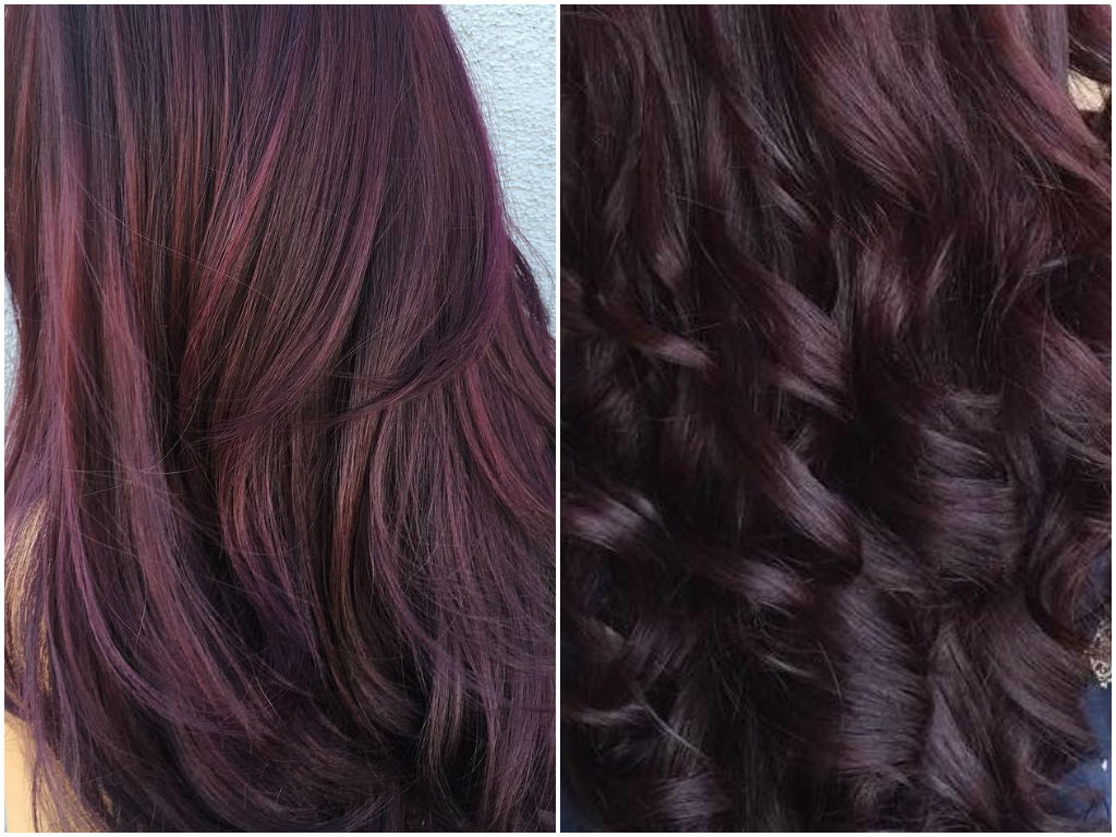 Purple hair reverse ombre