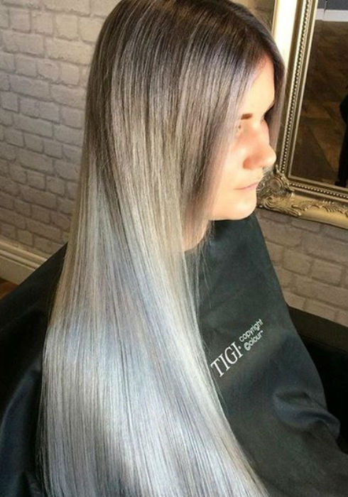 Ash Blonde Balayage And Silver Ombre Hair Color Ideas
