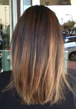 Ombre Hair Brown To Caramel To Blonde Medium Length Balayage on Straight H...