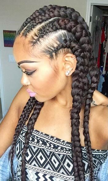 Black Braided Hairstyles 2019 - Big, Small, African, 2 and 4 Cornrows