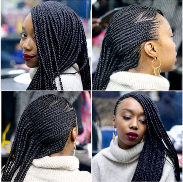 Curved Cornrows Bun