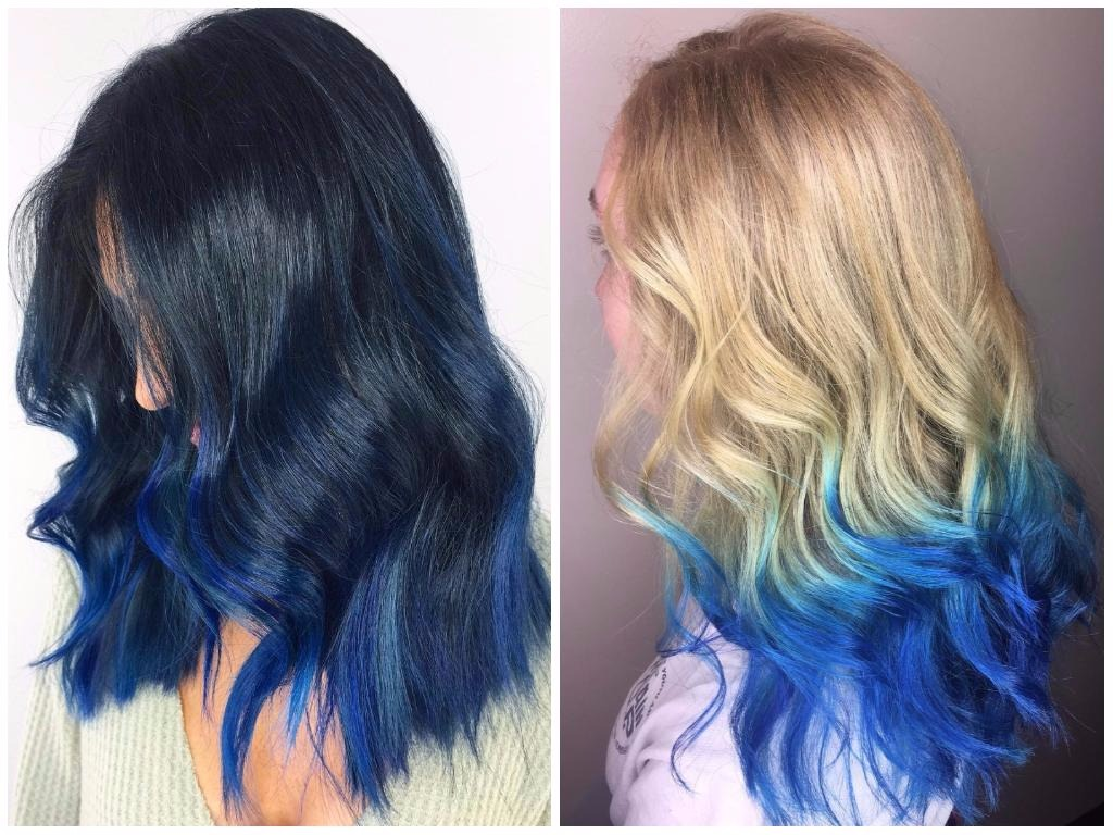 Natural Hair With Blue Streaks