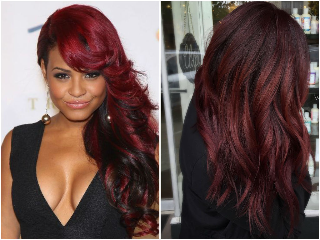 Black and burgandy hair