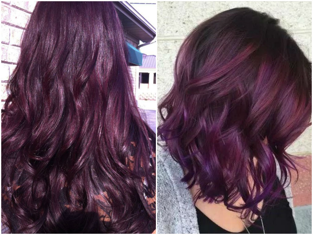 25 Dark Purple Hair Color Long Hairstyles 2016 2017 Of ...