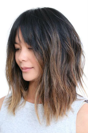 Shoulder length straight hair with
